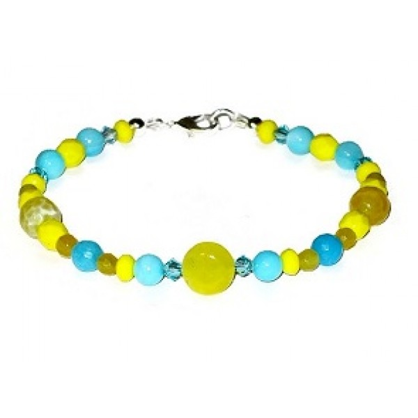 Yellow, Turquoise and Sky Blue Bracelet with Semi-Precious Beads