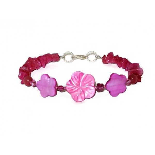 Fuchsia Chip Beaded and Flower Bracelet