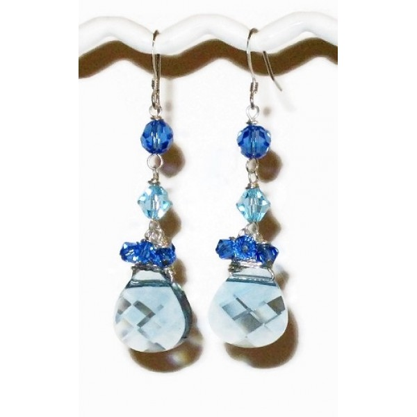Aquamarine and Sapphire Crystal Earrings