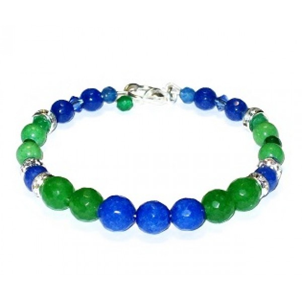 Colbalt Blue, Sapphire and Green Semi-Precious Bridesmaid Bracelet