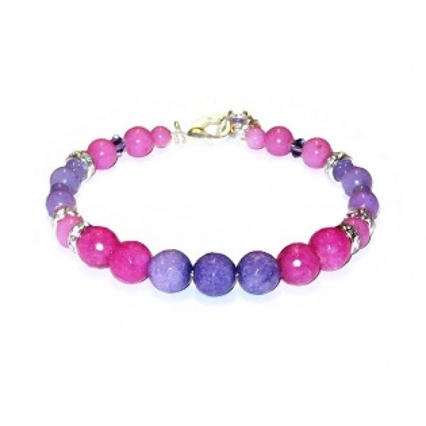 Bright Fuchsia and Purple Semi-Precious Bridesmaid Bracelet