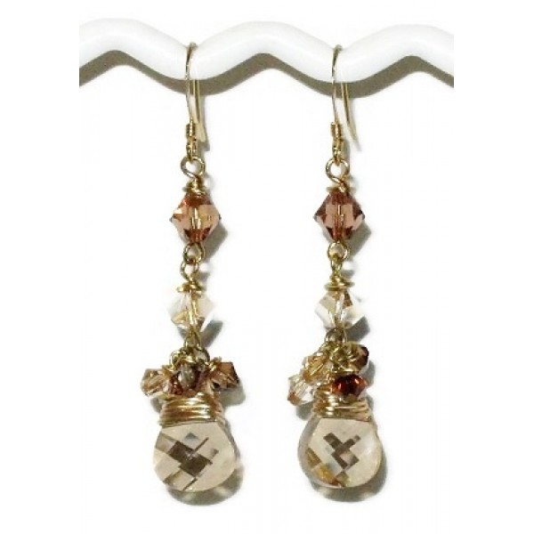 Golden Shadow Crystal Dangle Earrings