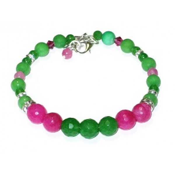 Green and Fuchsia Semi-Precious Bridesmaid Bracelet