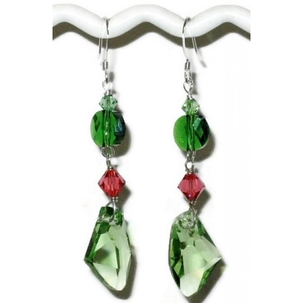 Green and Pink Padparadscha Crystal Earrings