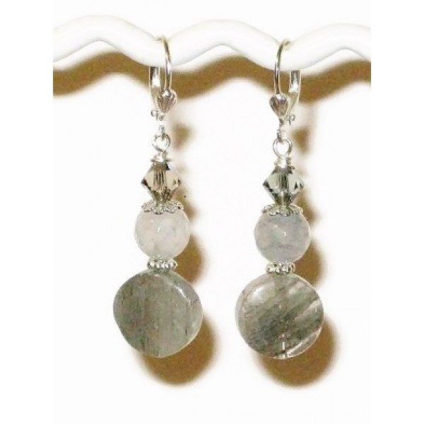 Gray Beaded Drop Earrings with Quartz Beads