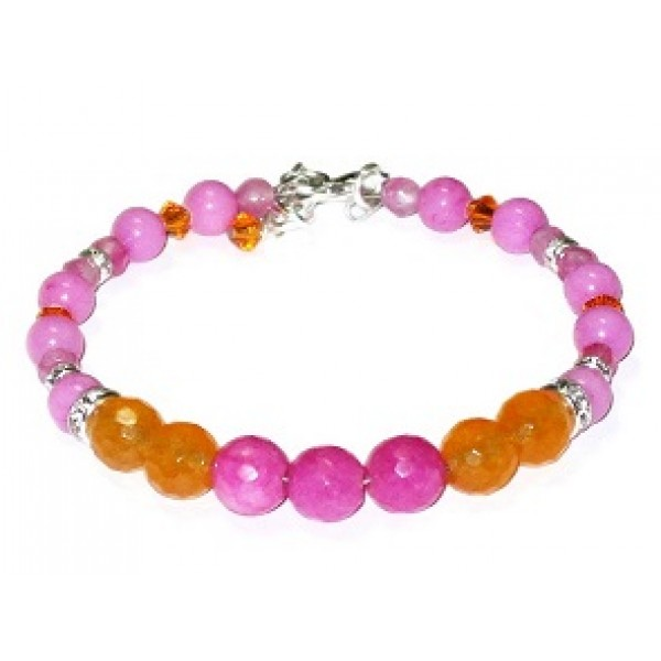 Hot Pink and Orange Semi-Precious Bridesmaid Bracelet