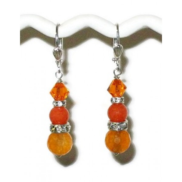 Orange Jade and Agate Bridesmaid Earrings