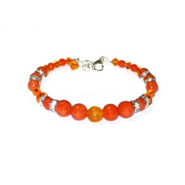 Orange Semi-Precious and Crystal Bracelet