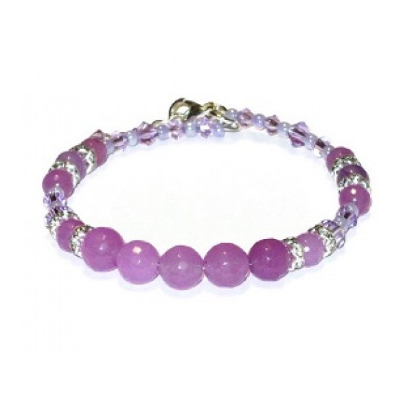 Orchid Semi-Precious and Crystal Bracelet