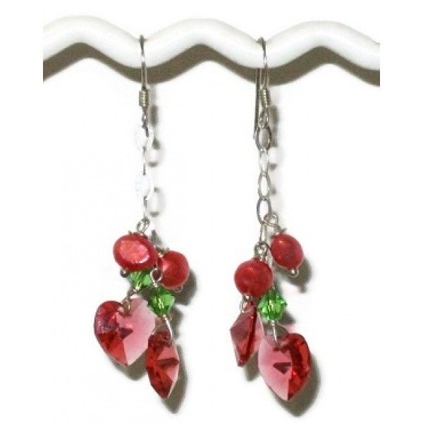 Coral, Green and Padparadscha Heart Crystal Sterling Silver Chain Earrings