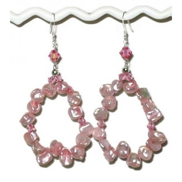Pink Keshi Pearl Hoop Earrings