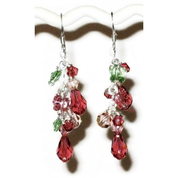 Pink, Green and Peach Dangle Crystal Earrings
