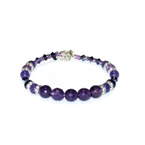 Dark Purple Semi-Precious and Crystal Bracelet