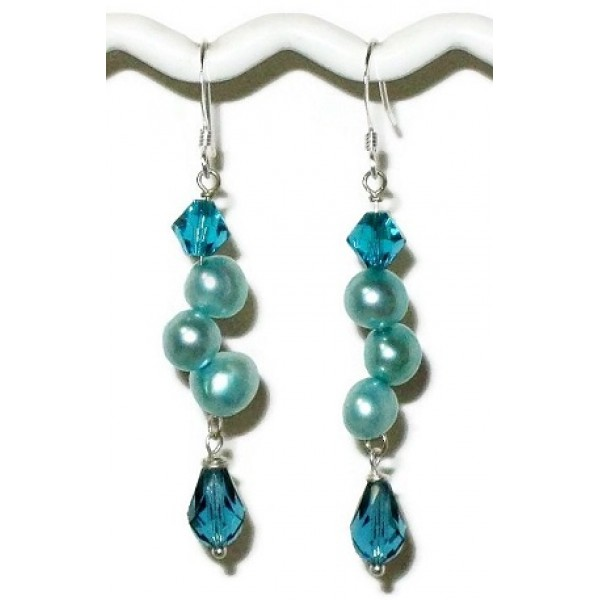 Teal and Turquoise Blue Freshwater Dancing Pearl Earrings