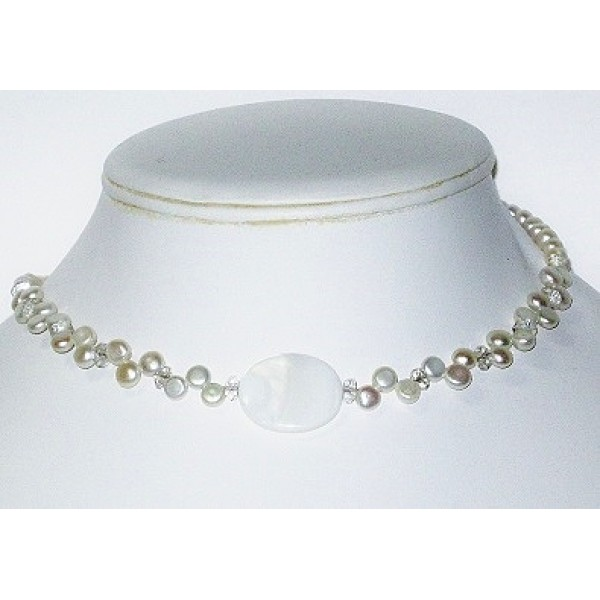 White Bridal Choker with Oval Center Piece