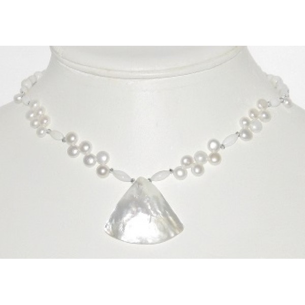 White Freshwater Pearl, Mother-of-Pearl and Crystal Bridal/Formal Wear Choker with Fan Pendant