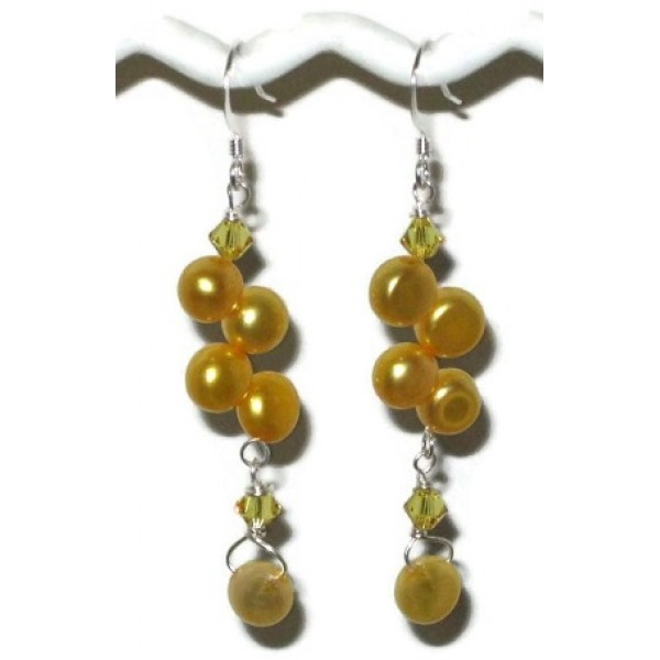 Yellow Freshwater Dancing Pearl Earrings
