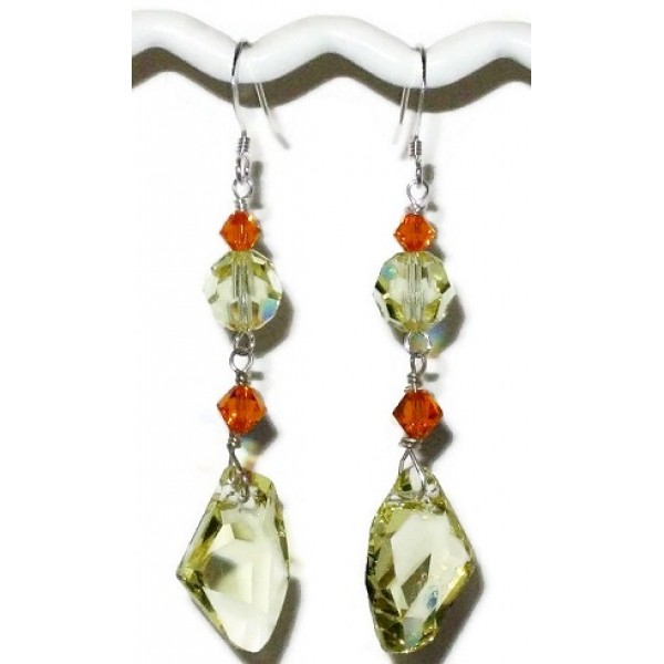 Yellow and Orange Dangle Crystal Earrings