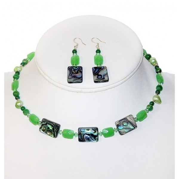 Green Choker and Earrings Set with Abalone and Jade