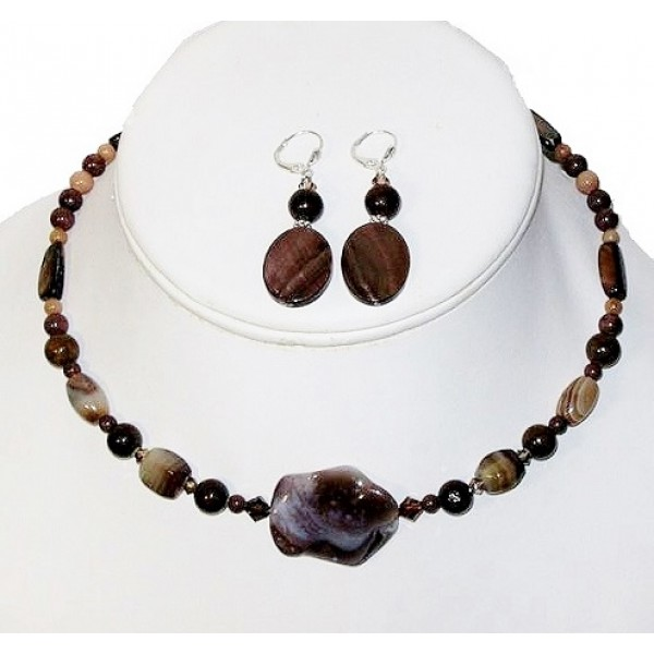 Brown, Tan and Beige Choker and Earring Set