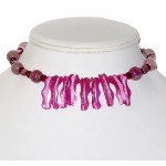 Fuchsia and Pink Mother-of-Pearl Stick Choker Set