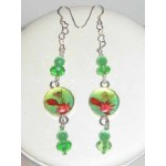 Green Fuchsia and Red Choker Set with Flowers