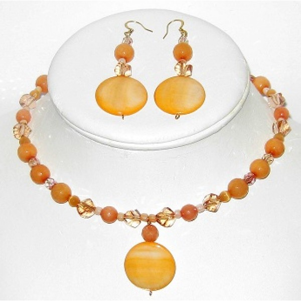 Peach Choker with Drop Pendant and Matching Earrings