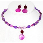 Fuchsia and Purple Mother-of-Pearl and Agate Choker and Earrings Set with Swarovski Crystals