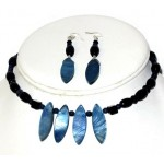 Navy Blue and Indigo Blue Choker and Earrings Set