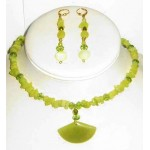 Olive Jade Choker and Earrings Set
