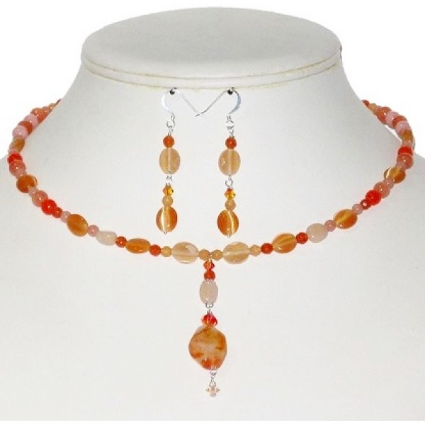 Orange, Salmon and Peach Earring and Choker Set