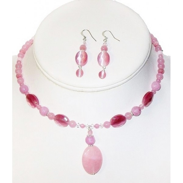 Pink Choker and Earring Set with Faceted Jade Pendant