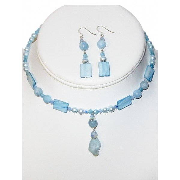 Powder and Baby Blue Mix Choker and Earring Set