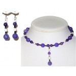 Purple and White Choker and Earring Set