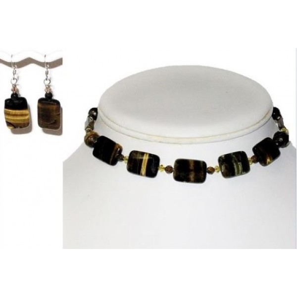 Choker and Earrings with Tiger Eye Rectangle Center