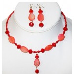 Red Choker and Earring Set