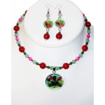 Green, Fuchsia, Red and Cranberry Choker Set with Flowers