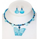 Turquoise Mother-of-Pearl and Jade Butterfly Choker with Earrings Set