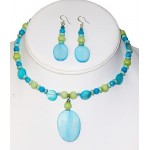 Turquoise and Apple Green Choker and Earrings Set