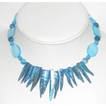 Turquoise Mother-of-Pearl Spike Choker