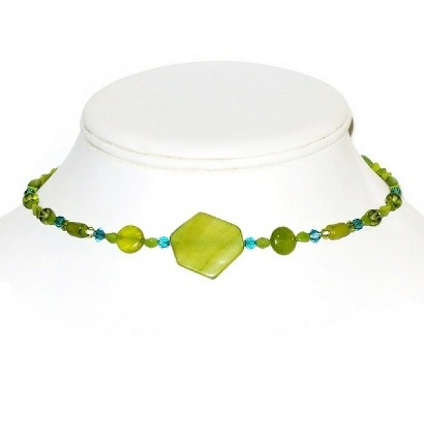 Olive Green, Chartreuse and Teal Choker