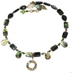 Abalone Choker with Briolette Stones and Drop Pendant
