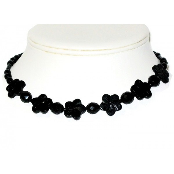 Black Onyx Choker with Flower Beads