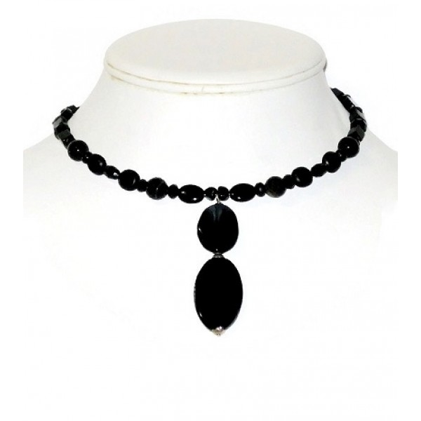 Black Choker with Onyx Drop Pendant