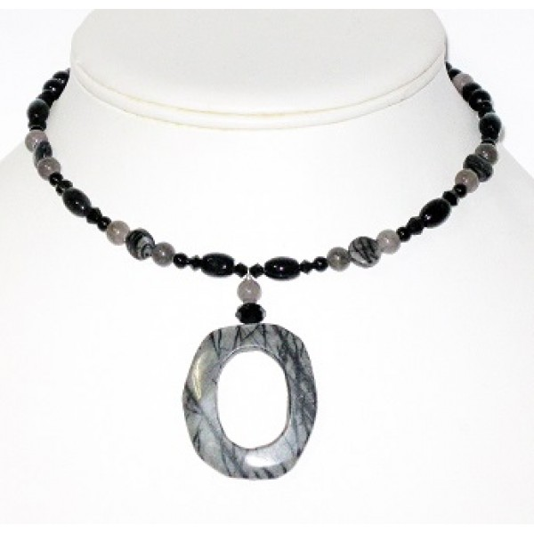 Black and Grey Choker with Jasper Pendant