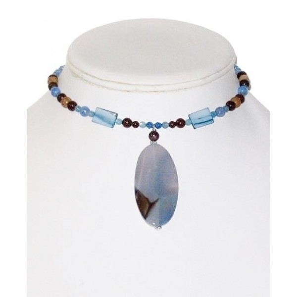 Blue and Brown Choker with Sardonyx Pendant