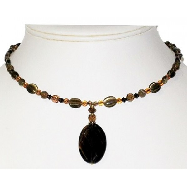 Brown Choker with Smoky Quartz Oval Pendant