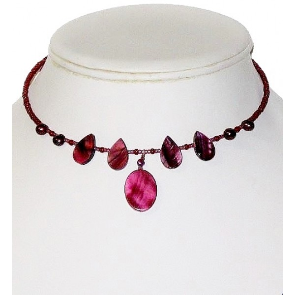 Burgundy and Plum Choker with Mother-of-Pearl Teardrop Beads