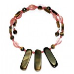 Cherry Quartz and Tiger Eye Fan Choker