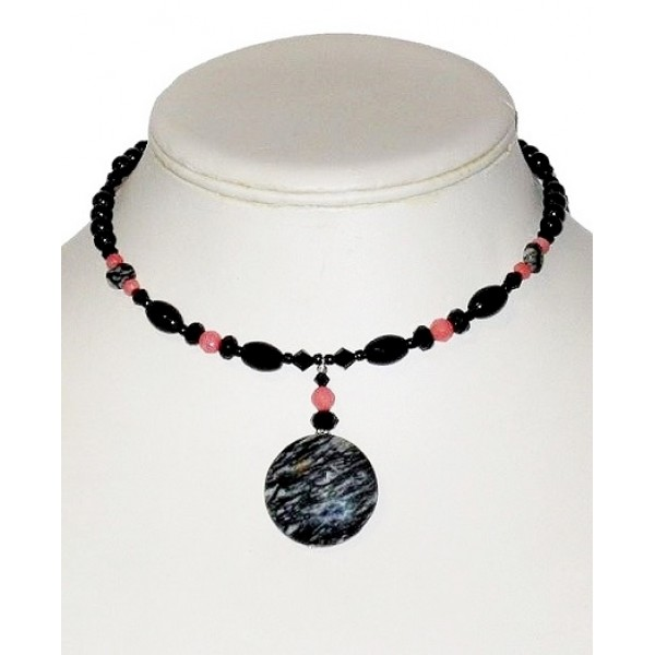 Black, Gray and Coral Choker with Jasper Pendant